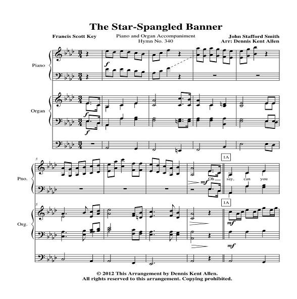 The Star Spangled Banner Piano And Organ Accompaniment Saintel