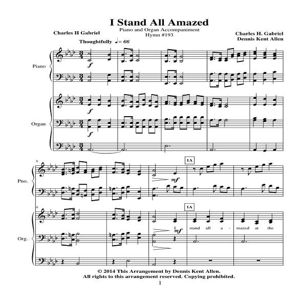 I Stand All Amazed (Piano and Organ Accompaniment)